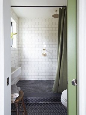 stalls campy shower with lovely of small tiled curtain vintage tub designer drop medium bathroom curtains for size niche sizes stall only