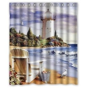 "Special Custom Beautiful Lighthouse Painting Mildrew Resistant Shower Curtain 60"" x 72"" - Bathroom Decor(Fabric)"