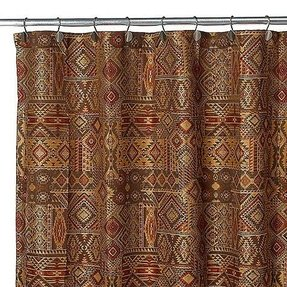 This Woven Jacquard Shower Curtain In Warm Brick And Gold