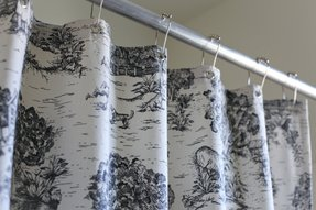 Toile blue curtains