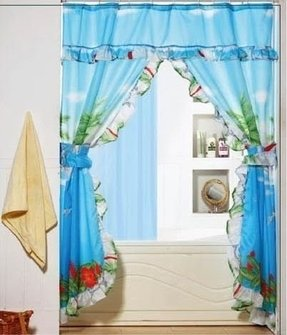 Tropical Palm Tree Double Swag Valance Tie Backs Liner Matching Rings Bathroom Shower Curtain Set 1159palm