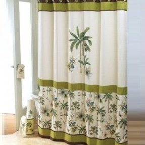 Tropical shower curtain catesby palms colonial williamsburg design green and