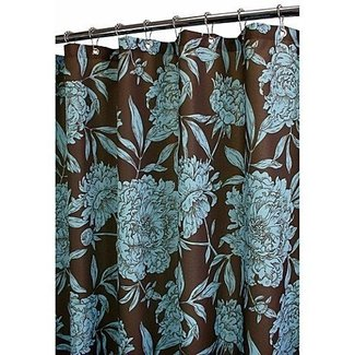 Turquoise and brown shower curtain