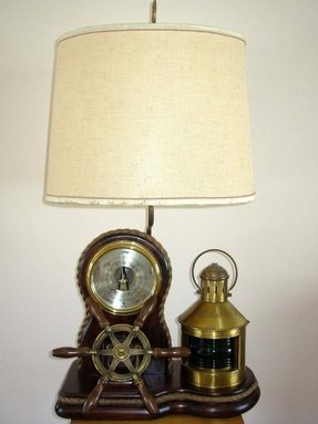 Vintage nautical barometer lamp with a