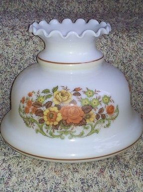 Vintage quoizel lamp fitter shade 6 3 4 floral rust