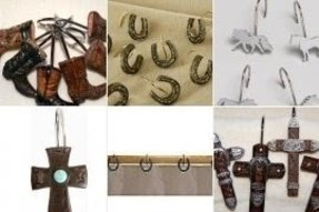 Western shower curtain hooks
