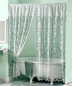 White Elegantrose Lace Shower Curtain Valance Victorian Scalloped