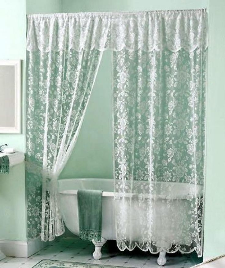 Charmant White Elegantrose Lace Shower Curtain Valance Victorian Scalloped Shower  Curtain