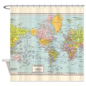 Map of the world shower curtain home the honoroak - Old world map shower curtain ...
