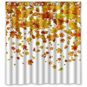 "66"" x 72"" Falling Maple Leaves Waterproof Polyester Fabric Bathroom Shower Curtain"
