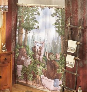 Bear Lodge Cabin Bathroom Shower Curtain Pump Bath Rug Toothbrush