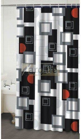 Black and white fabric shower curtain 1
