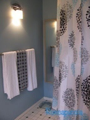 Black And White Monogrammed Shower Curtain 1 TheAmandaGosse Bathroom Makeover Gray Blue