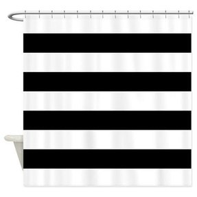 Black and white vertical striped shower curtain