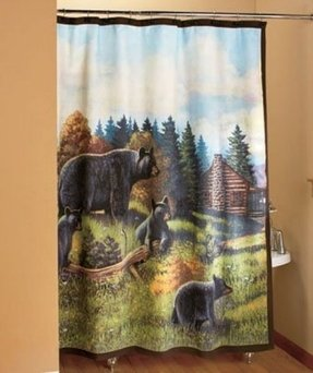 Black Bear Shower Curtain Evergreen Northwoods Woodland Cabin Bath Towels