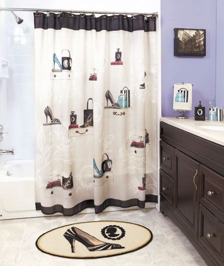 """Curtain Hooks Included 14 Piece Shower Curtain and Bath Rug Set /""""Madrid/""""-Coral"""