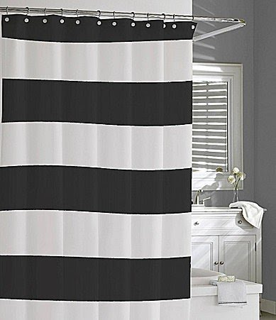 Blue White Striped Shower Curtain