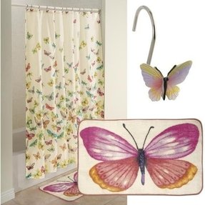 Butterfly shower curtain hooks