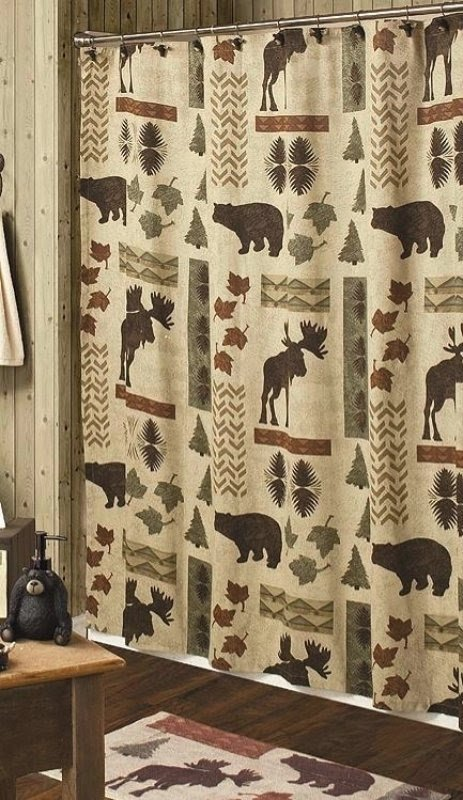 Bon Cabin Moose And Bear 5 Piece Bath Set | Cabin Decor Shower Curtain, Rug And