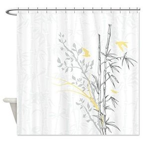 CafePress Bamboo N Birds Yellow Shower Curtain