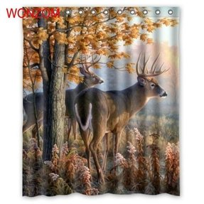 Botanical Deer Shower Curtain Custom Waterproof Polyester Fabric 60w X 72h
