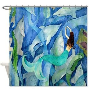 Dolphins and mermaid party art shower curtain 1