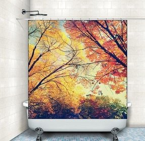 Fabric Shower Curtain Autumn Fall Leaves