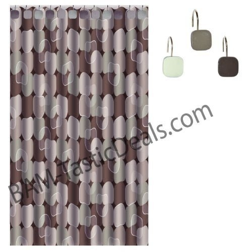 Fabric Shower Curtain With 12 Matching Metal/Ceramic Shower Curtain Hooks/ Rings + Clear