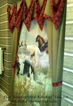 Flat valance with bandana swags a shower curtain eclectic window