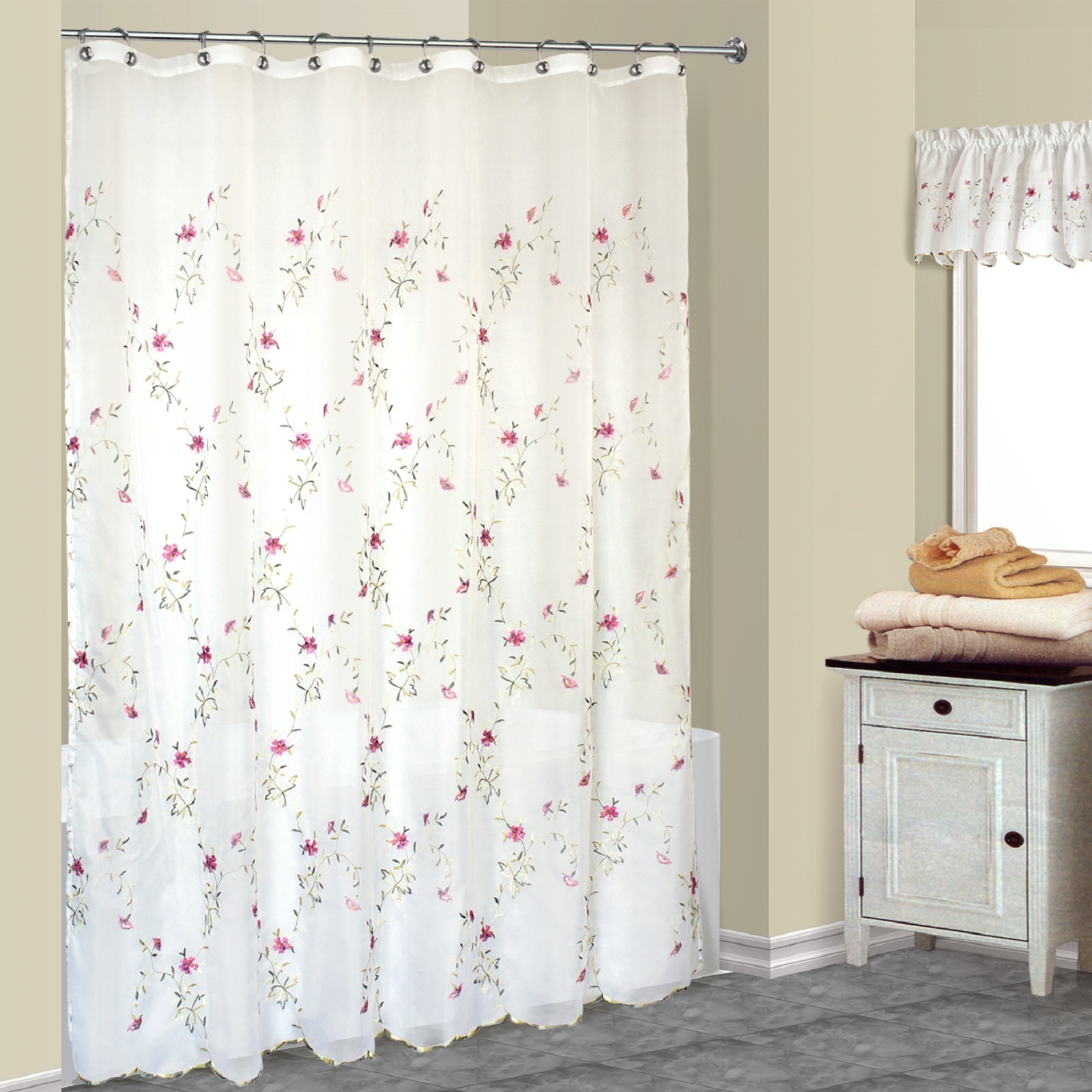 Floral Rose Pink Loretta Embroidered White Sheer Fabric Shower Curtain New