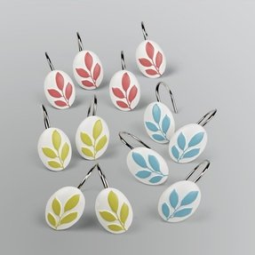 Floral shower curtain hooks 7