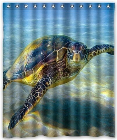 Turtle Underwater Shower Curtain Ocean Tropical Sea Coral Fish Colorful Nautical