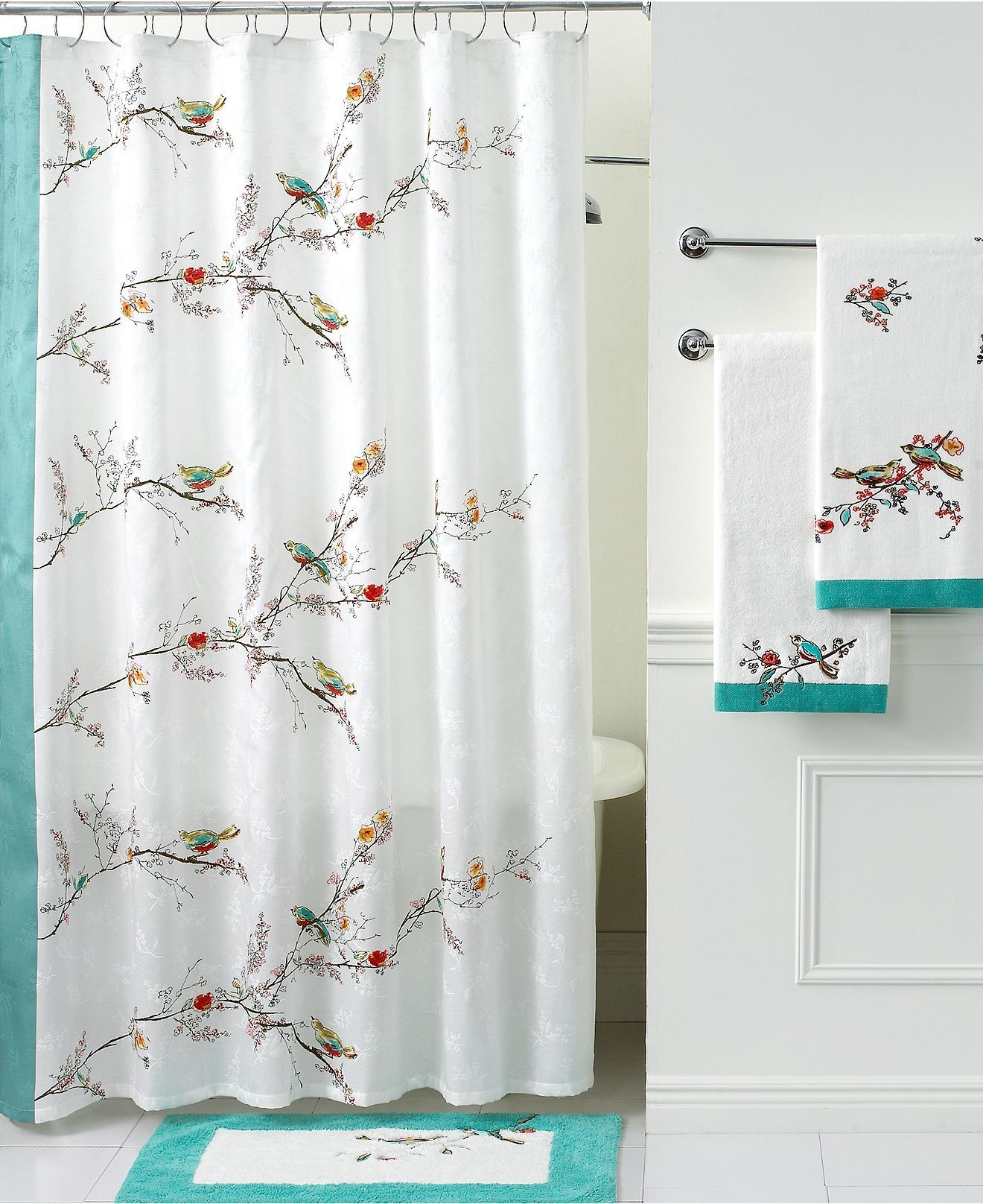 Lenox chirp shower curtain bird shower curtain