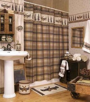 Lodge rustic shower curtain 2