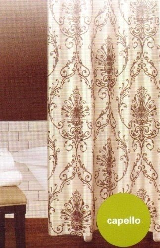 PRINTED CIRCLES BROWN LUXURY FABRIC SHOWER CURTAIN