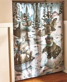 Moose Bear Shower Curtain 2
