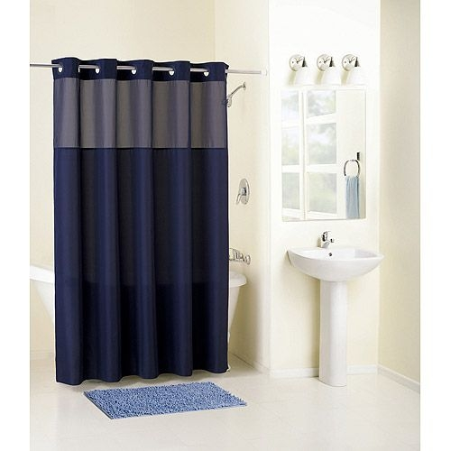 Navy Blue And White Shower Curtain