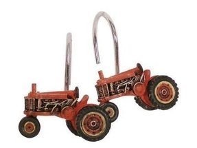 New down farm shower curtain hooks set 12 red tractors