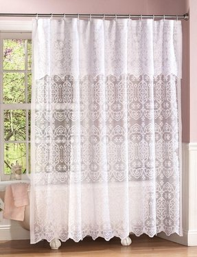 New Elegant Victorian White Lace Shower Curtain W Attached Valance