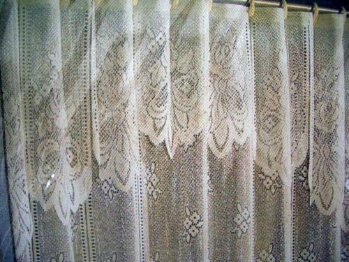 Nib Victorian Lace Versailles Fabric Shower Curtain W Liner Scalloped Valance