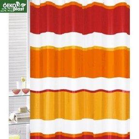 Orange Striped Shower Curtain