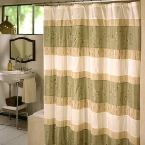 Pale green shower curtain
