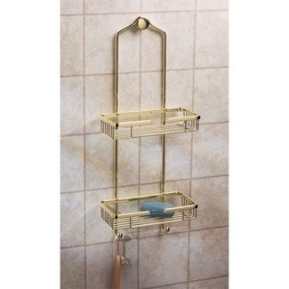 Polished brass shower caddy 1
