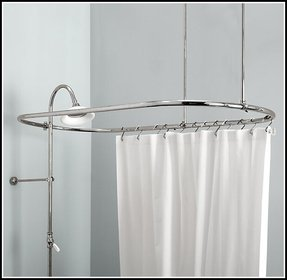 solid corner bathroom brushed curtain shower brass shape nickel double l rod