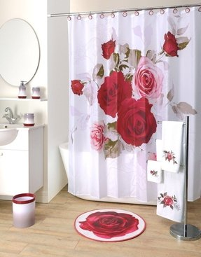 Prelude Floral Rose Fabric Shower Curtain, 70 X 71 Inches