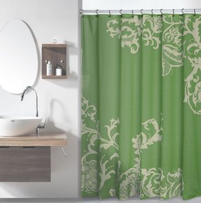 Sage green luxury fabric shower curtain with light green floral