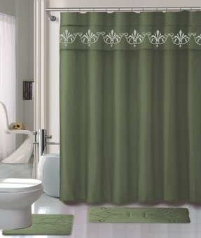 Sage green shower curtain 3