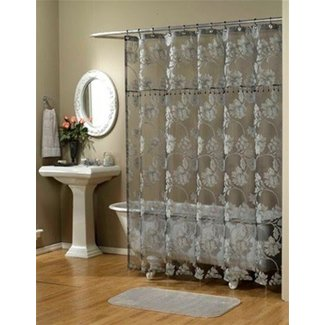 Sheer Fabric Shower Curtain 1