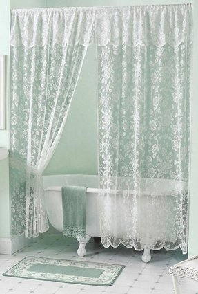 Cottage victorian shower curtain foter for Shabby chic rhinestone shower hooks