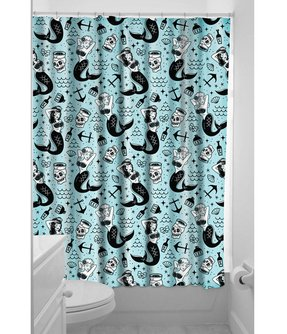 Sourpuss Mermaids Shower Curtain Nautical Rockabilly Vintage